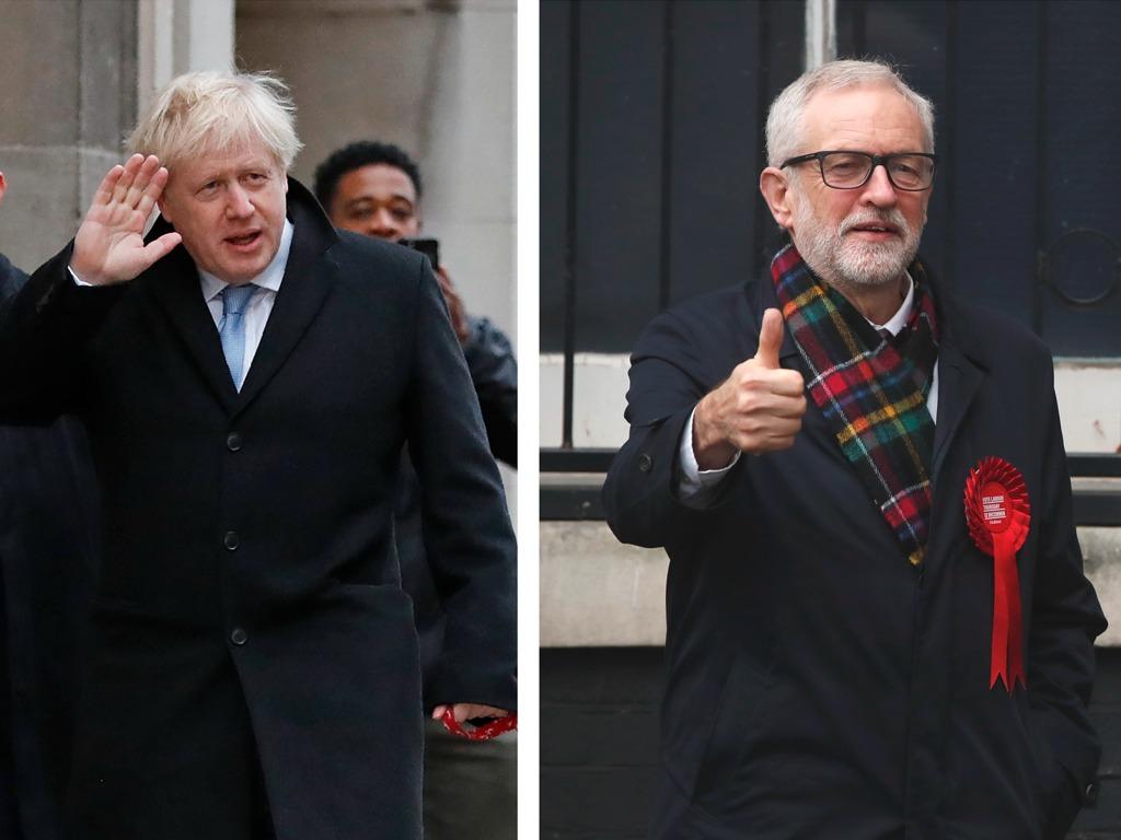 英大选民调显保守党大胜 约翰逊携爱犬现身投票站[图集]
